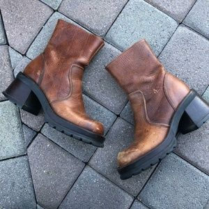 Leather Boots, Side Zipper, Round Toe